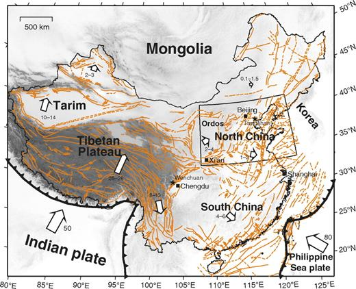 Topography and tectonic setting of North China (boxed) and neighboring regions. Thin orange lines are active faults. Arrows show crustal motion (mm/yr) relative to the stable Eurasian plate (Liu et al., 2007).