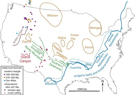 Map of late Paleozoic structures in the United States: intracratonic basins (orange) and fault systems (green), and orogenic belts (blue and brown). Locations and ages of igneous rocks are from Lund et al. (2010) and McMillan and McLemore (2004). Abbreviation: BWb—Black Warrior basin.