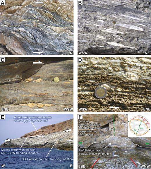 (A) Cataclasites along the detachment above the marble mylonites on Kythnos (4131485N, 266483E). Dolomitic layers (brown color) deform by dilational fracturing and pervasive precipitation of calcite veins. Calcite (bluish/gray) deforms by dissolution-precipitation creep forming SCC′ structures. (B) Typical conglomerate marble on the east coast of Kythnos (4142051N, 275684E). The prolate fabric has a weak foliation (062°/23°) but is dominated by the lineation 061°/22°, which is parallel to the long axes of the white deformed conglomerate components (lm1). (C) Mylonitic gneiss of the Cycladic basement in S Serifos (4110382N, 276654E). The mylonitic foliation dips gently toward the S and developed a NNE-SSW–striking stretching lineation. Quartz veins have been rotated into the shear direction forming asymmetric pinch-and-swell boudinage indicating top-to-the-WSW kinematics. (D) Conglomerate marble on Serifos that is 10 m below the low-angle normal fault at Platy Yialos (4120490N, 279330E). The prolate-shaped components record the long axis, which strikes 065°–245°, and they have σ-type geometries with clear stair-stepping, indicating WSW-directed shear. (E) Knife-sharp brittle low-angle normal fault (270°/10°) on Kavos Kiklopas (41.12546N, 270371E). Note that the contact marked by decimeter-thick ultracataclasites is localized exactly above the marble ultramylonites. CBU—Cycladic Blueschist unit. (F) The detachment plane exposed on N Serifos (4120542N, 279948E) forms a knife-sharp slickenside (sfm) localizing above a several-meter-thick marble ultramylonite. The slickenlines (lfm) are parallel to lm2 in the marble ultramylonites trending NNE-SSW. The foliated protocataclasites above the detachment are deformed into upright detachment folds with fold axial planes (axpl) also parallel to the shear direction. The cores of the detachment folds are filled with clay-rich, chaotic ultracataclasites and fault gouges.