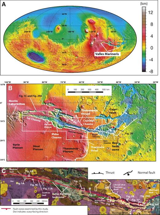 (A) Global topographic map of Mars and location of Valles Marineris. (B) Topographic map of Valles Marineris and locations of Figures 1C, 28, and 29A. The Ius-Melas-Coprates (IMC) trough zone is bounded by a continuous and nearly linear fault system at the bases of the trough walls. The fault system terminates at northeast-striking normal faults bounding Capri and Eos Chasmata in the east and a complexly extended region across Noctis Labyrinthus and Syria Planum. The Ius-Melas-Coprates trough zone also terminates the north-striking Thaumasia thrust in the south and may have offset the thrust to the north for 150–160 km in a left-lateral sense (see text for detail). Note that Melas Chasma is much wider and its southern rim is higher than the surrounding region. Also note that the eastern part of the Melas depression has a semicircular southern rim. (C) Geologic map of southern Valles Marineris from Witbeck et al. (1991). Locations of detailed study areas described in this study are also shown. Note that the location of the Thaumasia thrust, not mapped by Witbeck et al. (1991), is defined by the Hesperian plain deposits (units Hpl2 and Hpl3) in the west and the Hesperian wrinkle ridge terrane (unit Hr) in the east. This contact, truncated by the Ius-Melas-Coprates trough zone, corresponds to the Thaumasia thrust belt shown in Figure 1B.