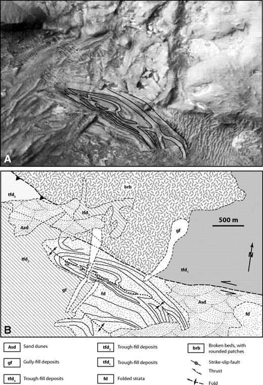 (A) Uninterpreted image and (B) interpreted image from an area across an interpreted fault. See Figure 12B for location.