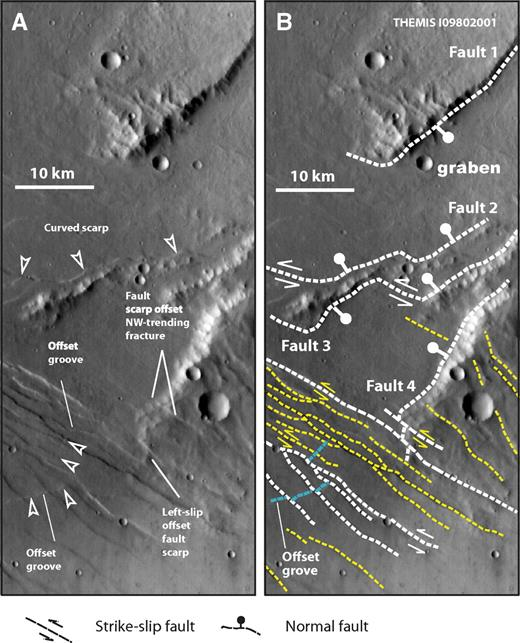 (A) Uninterpreted THEMIS (Thermal Emission Imaging System) image I09802001, with location shown in Figure 1C. (B) Interpreted fault map based on image shown in A. Note that interpreted northeast-striking normal faults either terminate into or are cut by the west-northwest–striking left-slip faults. Also note that west-northwest–trending narrow grabens are present in the uplifted footwalls of northeast-striking normal faults.