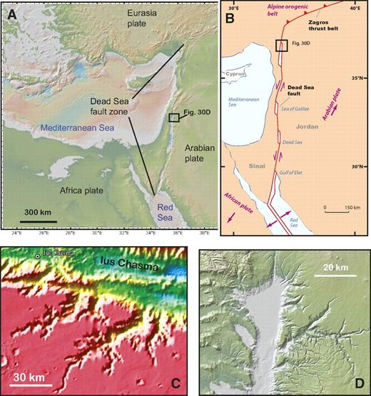 (A) Topographic expression of the Dead Sea fault zone separating the African plate from Arabian plate. (B) Tectonic map of the Dead Sea fault zone adopted from Ben-Avraham et al. (2008). (C) Drainage pattern on the southern margin of western Ius Chasma. (D) Drainage pattern across the central segment of the Dead Sea rift zone.