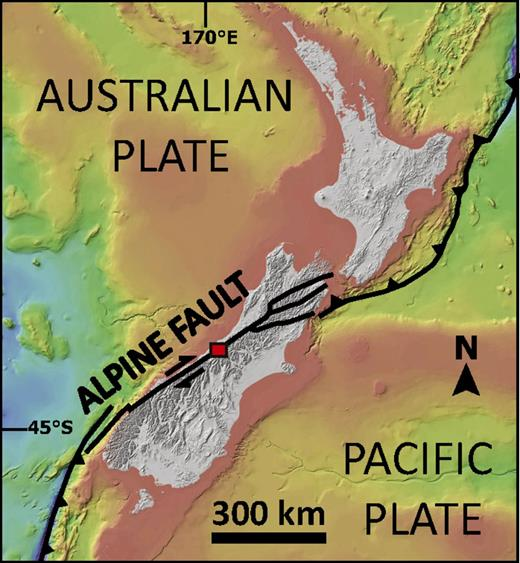 Tectonic setting of New Zealand showing major plate-boundary structures and light detection and ranging (LiDAR) study area overlain on bathymetric and topographic data compiled by the National Institute of Water and Atmospheric Research of New Zealand.