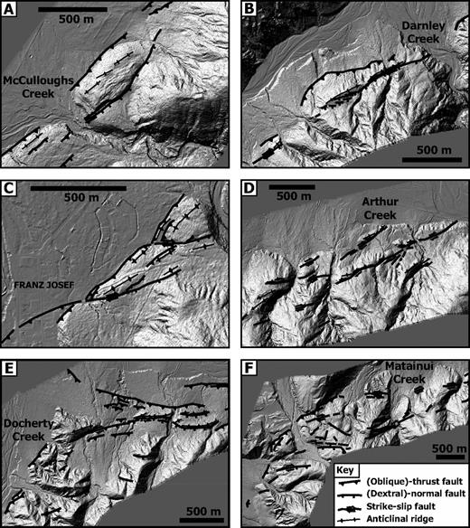 Key examples of characteristic geometries revealed by light detection and ranging (LiDAR) data. Fault motion is inferred based on LiDAR data and limited field data. Fault and fold interpretations are overlain on 2 m LiDAR hillshade map. Grid north is toward the top of the figure in all views. Refer to Figure 2C for locations. (A–B) McCulloughs Creek and Darnley Creek sites illustrate third-order parallel partitioning on a second-order thrust segment. (C) The Franz Josef area is characterized by en echelon fault partitioning. (D) Arthur Creek illustrates fault patterns on a second-order strike-slip segment. (E) Docherty Creek–Waiho River and (F) Gaunt Creek–Matainui Creek are on transitions from thrust to strike-slip segments.