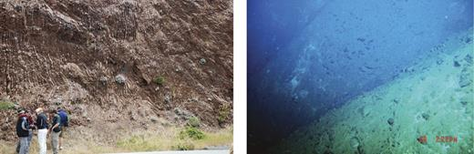 Photographs of on-land (left) and submerged (right) forearc exposures. Left photo shows how easy it is for geoscientists to examine lithologies and structures on land. Right photo is taken from Shinkai 6500 YK1012, Dive 1231, ∼6000 m deep in the southern Mariana Trench. Only one or two scientists at a time can go down to examine and sample rocks. Costs of an on-land field trip are a miniscule fraction of the expense of a submarine field trip. Photo on the left is Franciscan radiolarian chert exposed on the Marin headlands, California (photo by S. Graham). Field of view on right is ∼7 m.