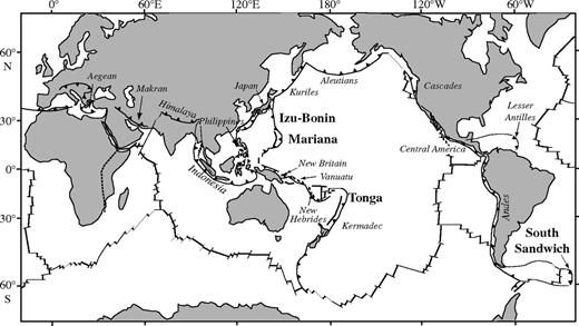 Known locations of peridotite exposures in the lower parts of inner-trench walls, shown in bold: (1) South Sandwich (Pearce et al., 2000); (2) Tonga (Fisher and Engel, 1969; Bloomer and Fisher, 1987); (3) Mariana (Bloomer, 1983; Ohara and Ishii, 1998; Michibayashi et al., 2007, 2009); (4) Izu-Bonin (Okamura et al., 2006; Ishizuka et al., 2011). Mariana and Izu-Bonin forearcs also bring up peridotite in serpentine mud volcanoes (Fryer et al., 1995; Parkinson and Pearce, 1998). Peridotites represent the bases of in situ ophiolites that make up the crust and upper mantle of intra-oceanic forearcs. Other inner-trench walls may also expose peridotite, but most have not been sampled as extensively as these four.