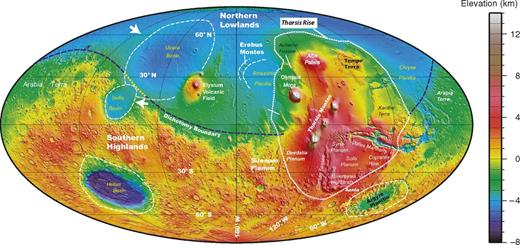 Location of Tharsis rise and major topographic features in and adjacent to the region. Also shown are four largest impact basins on Mars: Hellas, Utopia, Isidis, and Argyre.