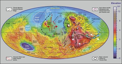 Tectonic map of Mars with emphasis on local subduction zones. Two subduction systems are proposed: (1) the inactive Elysium system and (2) the possibly active Tharsis system. The Elysium system accommodates subduction of Utopia Planitia, whereas the Tharsis system accommodates subduction of Amazonis Planitia. The region between Elysium province and the Olympus Mons is marked by a series of north-trending linear scarps possibly representing normal faults (Scott and Tanaka, 1986; Dohm et al., 2008; Anderson et al., 2008). These structures may be induced by downward bending of the northern lowlands lithosphere. There is also a group of northeast-trending, curvilinear scarps aligned in an en echelon pattern on the southwest side of the Tharsis rise. These structures are interpreted as parts of a broad left-slip shear zone accommodating northwestward sinking and retreat of a strip of the subducting northern lowland slab.