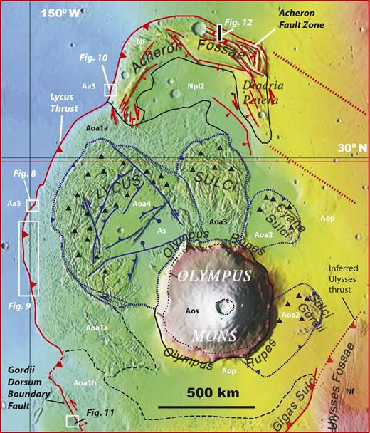 Structural map of the Lycus thrust system. See Figure 2A for location. Units are adopted from Scott and Tanaka (1986) with modified interpretations from this study: Aa3—the Late Amazonian plain deposits; Aoa1—protolith derived from unit Aa3 that was incorporated by thrusting into the hanging wall of the Lycus thrust; Aoa2, Aoa3, and Aoa 4—landslide or pyroclastic sheets derived from the base of Olympus Mons; Nf—Noachian basement.