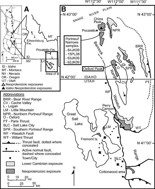 Regional maps. (A) Map showing the location of Neoproterozoic diamictite-bearing successions along the Cordillera, modified from Fanning and Link (2004). (B) Location map showing the study areas of the Portneuf Narrows and Oxford Mountain in the Bannock Range, SE Idaho. Also shown are locations of correlative Neoproterozoic sections: formation of Perry Canyon in Perry Canyon and the Mineral Fork Formation in the Cottonwood area east of Salt Lake City.