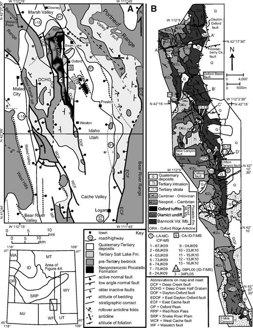 (A) Simplified geologic map of the Cache Valley, Malad Valley, and Marsh Valley areas. New mapping of Oxford Ridge is bordered in black. Modified from Janecke et al. (2003). Inset is modified from Janecke and Evans (1999). (B) New geologic map of Oxford Ridge showing locations of geochronologic samples. CA-ID-TIMS—chemical abrasion–isotope dilution–thermal ionization mass spectrometry; LA-ICP-MS—laser ablation–inductively coupled plasma–mass spectrometry. Cross sections to section lines A–D are shown in Figure 6.