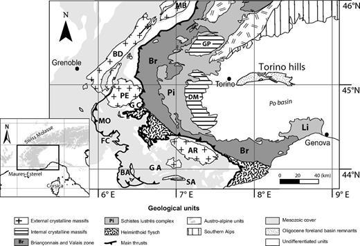Overview map of the western Alps, showing the main lithotectonic units and the location of the foreland basin remnants used in this study. External massifs: MB—Mont Blanc, BD—Belledonne, PE—Pelvoux, AR—Argentera. Pro-side foreland basin remnants: MO—Montmaur, FC—Faucon du Caire, BA—Barrême basin, SA—Saint Antonin basin, GC—Grès du Champsaur, GA—Grès d'Annot. Internal massifs: GP—Gran Paradiso, DM—Dora-Maira. Other units: Li—Ligurian Alps.