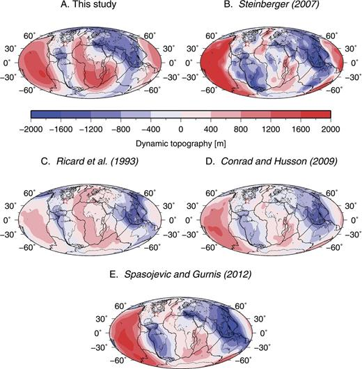 Graphical comparison of the present-day dynamic topography (water-loaded in the oceans, air-loaded in the continents, and averaging to zero) predicted by five distinct models. A and C show the dynamic topography fields predicted by time-dependent mantle flow models, both numerical (A) and analytical (C). B, D, and E show the dynamic topography field predicted by present-day instantaneous mantle flow models in which the density structure is based on a seismic tomographic model of the interior of the Earth. See text for details. The red star in all panels shows the location of well COST-B2. Mollweide projection. Data in B courtesy B. Steinberger, C courtesy Y. Ricard, D courtesy C. Conrad, and E courtesy S. Spasojevic.