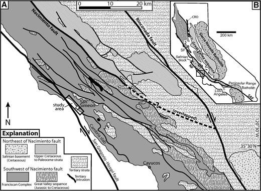 (A) Simplified geologic map of central California (modified from Dickinson et al., 2005; Jennings, 1958). The areas shown as Franciscan Complex include mélange, coherent bodies, and mafic intrusive and extrusive rocks. (B) Simplified distribution of Mesozoic lithotectonic belts in California. The box outlines the area in A. CRO—Coast Range ophiolite; SAF—San Andreas fault; NF—Nacimiento fault; SF—San Francisco.
