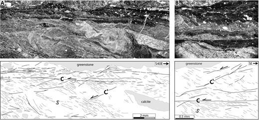 Plane polarized light photomicrographs and corresponding sketches of sheared mélange cut parallel to the calculated slip vector (320, 5) and perpendicular to the dominant C-plane orientation. S-C-C′ fabric records sinistral shear within a NE-dipping shear zone. Sample is from part of study area southeast of San Simeon (see Fig. 2).