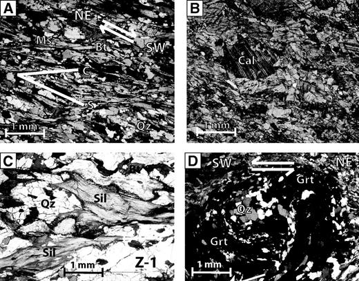 Photomicrographs of thin sections from Zanskar samples. (A) Mica schist in the upper Greater Himalayan Sequence northeast of sample Z-4 with S-C fabric that preserves an earlier top-to-the-SW shear sense. (B) A calc-silicate augen in mylonite near Rangdum, immediately east of sample Z-32 (cross polarized light). (C) Orthogneissic migmatite (Z-1) with fibrous sillimanite where leucocratic melt escaped (plane polarized light). (D) Snowball garnet in Greater Himalayan Sequence schist (Z-40) showing prograde synkinematic growth during top-to-the-SW shear sense. The Data Repository contains a color version of this figure (see text footnote 1). Mineral abbreviations after Whitney and Evans, 2010.