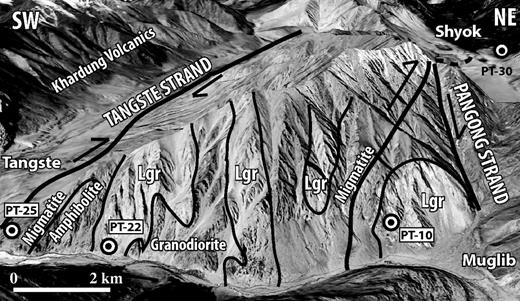 Annotated oblique satellite imagery of Tangste Gorge along the Karakoram shear zone showing sample locations (see Fig. 2 for location). Satellite imagery is from Google Earth and is presented at an inclined angle with no vertical exaggeration. Contacts and lithologies are based on field observations and Phillips and Searle (2007). Lgr—Leucogranite.
