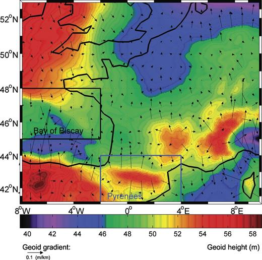 Geoid height N(x,y) (in m) and opposite of the geoid gradient (in m/km) in Western Europe. The rectangles indicate the Bay of Biscay and the Pyrenees.