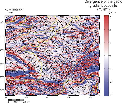 Divergence of the opposite of the geoid gradient (in m/km2) and direction of the maximal principal horizontal stress σH in Western Europe.