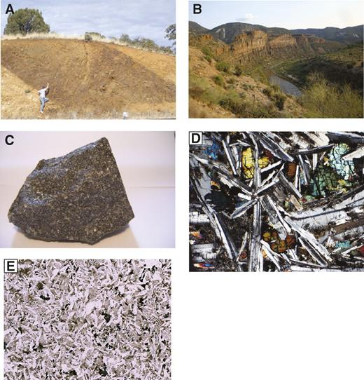 (A) Road cut in Burro Mountains, southwestern New Mexico, outcrop of ∼5-m-thick sheet cutting local fabric in ca. 1.65 Ga metamorphic rocks at a low angle. (B) Photograph of sill (at river level) in the Salt River Canyon, central Arizona. (C) Hand sample of diabase 09Sr-6b from Salt River Canyon, sample is 10 cm wide. (D) Photomicrograph of sample 03BM-88, diabase from Burro Mountains, crossed polars, width of image 2 mm. (E) Scan of thin section of sample 09HU-14, diabase from Hualapai Mountains, central Arizona. See Table 1 for locations.