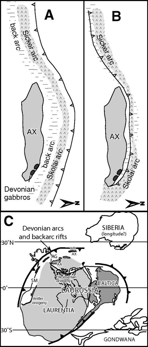 Diagram showing the relationships between the Alexander terrane and Wrangellia for (A) Late Devonian to Mississippian, and (B) late Mississippian to Early Permian. (C) Devono-Mississippian paleogeographic setting for the Alexander terrane and Wrangellia; North arrows indicate spatial reference for map in 6C. AA—Arctic Alaska, AG—Angayucham, AX—Alexander, SM—Slide Mountain, WR—Wrangellia.