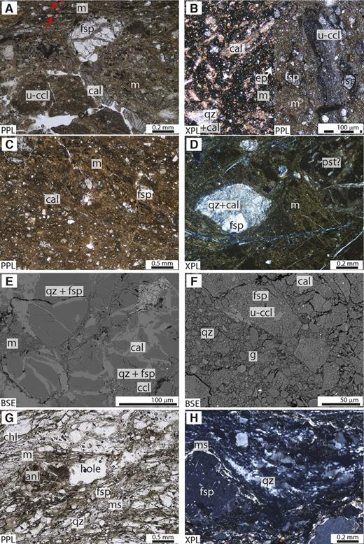 Optical and scanning electron microscope (SEM) images of fault core and footwall lithologies. Abbreviations for mineral labels follow Whitney and Evans (2010); additionally, m—mica, u-ccl—ultracataclasite, ccl—cataclasite, m—gouge matrix, pst—pseudotachylyte, PPL—plane polarized light, XPL—cross polarized light, BSE—backscattered electron SEM image. (A) Unit 4 foliated cataclasite to unit 5 blue gouge transition interval in Deep Fault Drilling Project (DFDP-1A), 90.36 m depth (1A.66_CC.18). Arrows indicate overgrowths on feldspar porphyroclasts. (B) Unit 5 blue gouge in DFDP-1A, 90.62 m depth (1A.66_CC.44). Both photomicrographs are of the same sample. (C) Principal slip zone (PSZ) unit 5 brown gouge in DFDP-1A, 90.70 m depth (1A.66_CC.52). (D) PSZ-1 unit 5 brown gouge in DFDP-1B, 128.44 m depth (1B_59–2_0.14). Cracks crosscutting the image formed during thin-section preparation. (E) Unit 6d mixed cataclasite immediately above an undulating contact with PSZ-2 unit 5 gouge, DFDP-1B, 144.01 m (1B_69–2_0.47). (F) PSZ-2 unit 5 gouge, DFDP-1B, 144.02 m (1B_69–2_0.48). (G) Unit 6d. Plane polarized light. (H) Clast in unit 7 breccia, DFDP-1B, 144.75 m (1B_71–2.0.55).