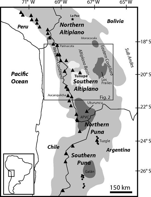 Location map of the central Andes of South America. Quaternary composite volcanoes are shown as black triangles and major mid-Miocene to recent ignimbrite fields are darkly shaded. Dark circles in Argentina are locations of rear arc lavas discussed in the text (Déruelle, 1991; Schreiber and Schwab, 1991; Drew et al., 2009). The >3 km elevations of the central Andean Plateau (Altiplano-Puna) are lightly shaded. The southern Altiplano segment (box, Fig. 2) is defined here as between ∼18°S and 21.5°S. APVC—Altiplano-Puna volcanic complex.