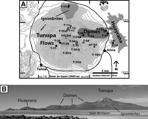 (A) Annotated topography of Tunupa and Huayrana with sample localities of analyzed rocks. Open circles denote locations of samples with whole-rock analyses, and closed circles denote samples with whole-rock and 40Ar/39Ar analyses. (B) Photograph looking toward the northeast side of Tunupa. Field of view is approximately 15 km.