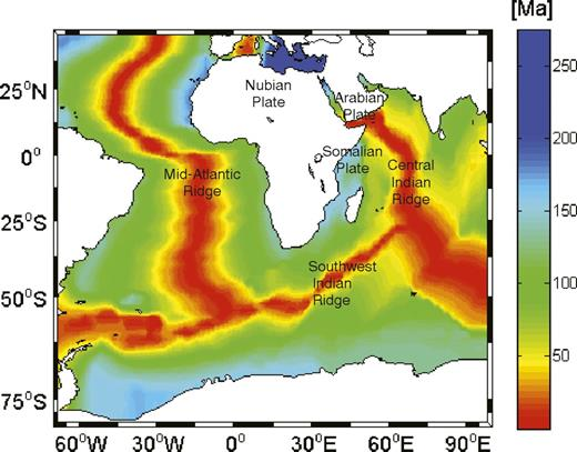 Age of the oceanic part of the Nubia-Somalia plate system (Müller et al., 2008).