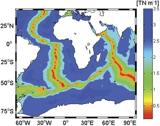 Ridge-push forces derived from isostatic geoid anomalies in the oceanic part of the Nubia-Somalia plate system. The ridge-push force for old plates (>75 Ma) is of the order of ∼3.5 TN m–1.