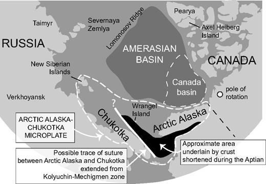 Map showing part of the Arctic region that shows the possible location of a suture zone or major tectonic boundary within the Arctic Alaska–Chukotka microplate. The boundary separates continental crust that was significantly shortened during the Aptian in Arctic Alaska and northeast Chukotka from rocks in central and western Chukotka that were not significantly shortened. The approximate extent of the significantly shortened rocks north of Chukotka in the vicinity of Wrangel Island is speculative.