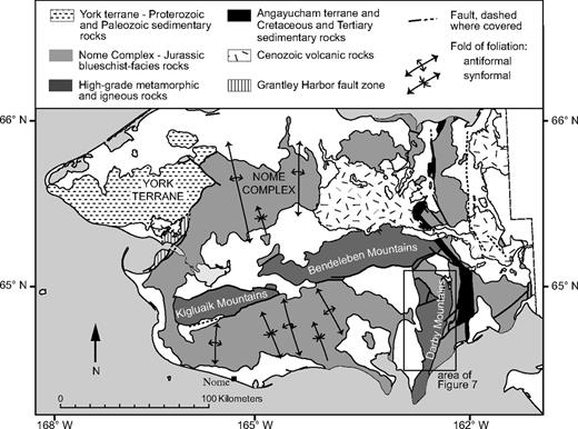 Simplified geologic map of the Seward Peninsula, modified from Till et al. (2011). Location and orientation of folds of foliation within the Nome Complex are shown. Plutonic rocks, which are most voluminous in the Kigluaik, Bendeleben, and Darby Mountain ranges, are not shown. For location of figure, see Figure 2.
