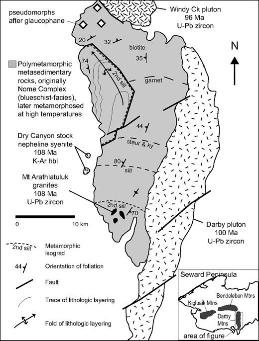 Geologic map of the Darby Mountains, southeast Seward Peninsula, showing foliations, previously unpublished metamorphic isograds, and select igneous rocks. Fault-bounded block in the northwest part of the range contains a map-scale fold of marble with a subvertical axial plane. All rocks within the block were metamorphosed at granulite facies (temperatures above the second sillimanite isograd). Reported uncertainties for the U-Pb zircon ages are less than 0.5 Ma; the uncertainty for the K-Ar biotite age is 1.4 Ma. For sources of geochronologic data, see text and Till et al. (2011). Map is modified from Till et al. (2011). For location of figure, see Figure 6. Abbreviations: sill—sillimanite; staur—staurolite; ky—kyanite; hbl—hornblende.