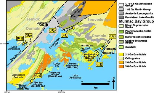 Sample locations in the Murmac Bay Group and simplified geology of the Uranium City, Saskatchewan area, after Ashton et al. (2013). Lithologic domains are labeled in gray. Diamonds are ages from previously published data (Hartlaub et al., 2006; Ashton et al., 2013), stars denote new samples collected for this study, and circles indicate metamorphic ages as indicated by monazite growth (Bethune et al., 2013).
