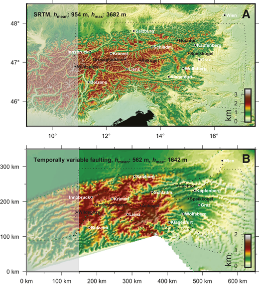 topographic map of the eastern alps in comparison with the predicted topography of the model simulation