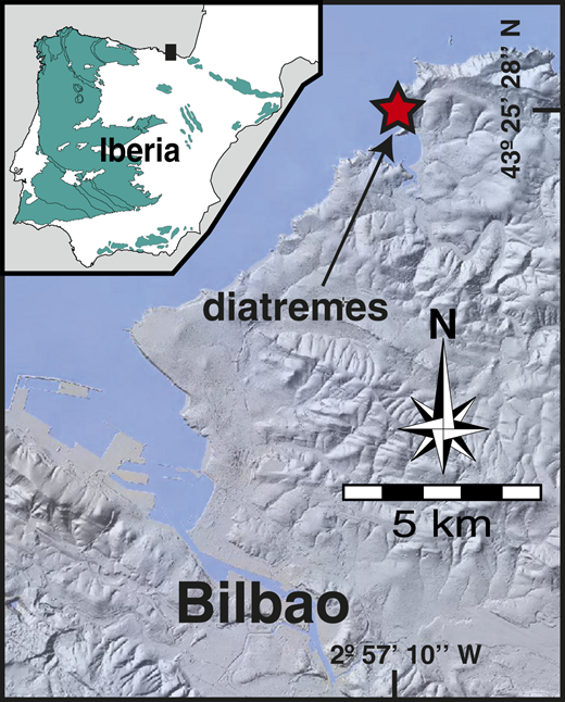 Location of the diatremes studied on a digital terrain model (Instituto Geográfico Nacional, Spain; www2.ign.es/iberpix/visoriberpix/visorign.html). Iberian Peninsula inset outlines pre-Mesozoic rock outcrops (green).