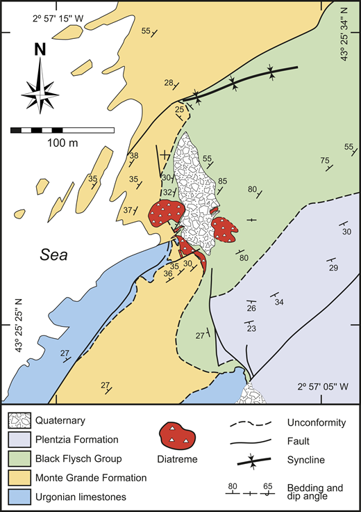 Geological map of the diatreme outcrops and the Cretaceous country rocks.
