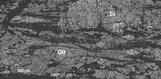 Electron backscattered diffraction band contrast map of sillimanite (Sil) and quartz (Qtz) bearing high-grade gneiss showing a syntectonic microstructure. See text for further details.