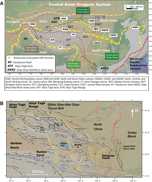 (A) Tectonic map of the Tethyan Orogenic System and the Central Asian Orogenic System (modified from Wu et al., 2016). (B) Regional tectonic map of the Qilian Shan–Nan Shan thrust belt and its adjacent regions (modified from Gao et al., 2013; Zuza et al., 2016). Major faults are denoted with black lines (thrust), blue lines (sinistral strike slip), yellow lines (dextral strike slip), and pink lines (normal). Underlying base map is from www.geomapapp.org (Ryan et al., 2009).