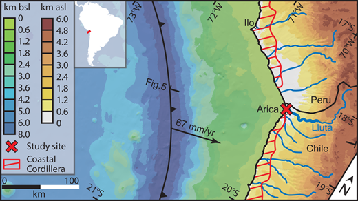 Geographical setting of the Arica Bend. The red X indicates the location of the analyzed section (see Figs. 2 and 3). The red hachures indicate the area of million-year-long uplift (Coastal Cordillera). The portion of the Lluta River considered in this study is highlighted by the thicker blue line. The trace of the profile by Comte et al. (1999) used in Figure 5 is indicated. Abbreviations: bsl—below sea level; asl—above sea level.
