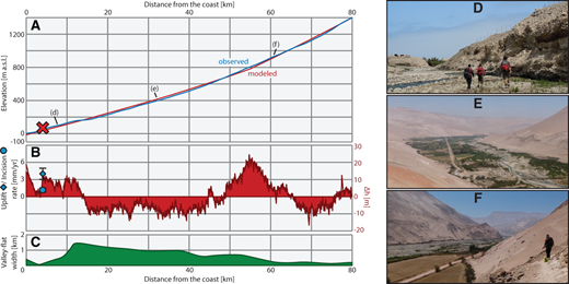 (A) Elevation profile of the observed and modeled steady-state profiles. Red X marks the paleodelta; a.s.l.—above sea level. (B) Relative uplift pattern corresponding to the difference in elevation between observed and modeled profiles (Δh). Average uplift and incision rates are also plotted. (C) Along-stream variation of valley-flat width measured on digital elevation model and satellite photos. (D, E, F) Field photos along the course of the Lluta River; location along the channel is indicated in A.