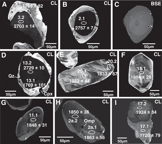 (A–I) Representative cathodoluminescence (CL) and backscattered electrons (BSE) images of dated zircon crystals in sample RPB1B. The analyzed spots are shown with their 207Pb/206Pb ages and spot numbers. Abbreviations as in Figure 3.