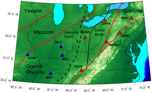 Map of station locations and major tectonic boundaries. Red triangles indicate locations of stations used in this study; blue triangles show stations examined by Wirth and Long (2014). Red lines indicate the boundaries of major Proterozoic terranes (Yavapai, Mazatzal, Granite-Rhyolite, and Grenville) according to Whitmeyer and Karlstrom (2007). The dashed line indicates the position of the Grenville deformation front, and the black line indicates the western boundary of the Elzevier block, also from Whitmeyer and Karlstrom (2007).