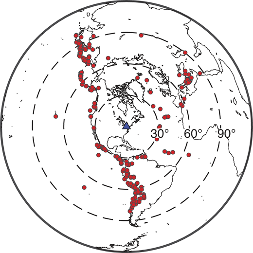 Map of earthquakes used in our analysis at station SSPA. Station location is shown with a triangle; event locations are shown with circles. Event distributions for other stations in the study are similar.