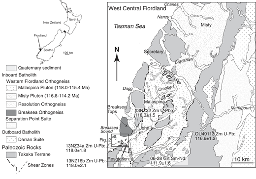 Generalized geologic map of central Fiordland, New Zealand. Western Fiordland from Charles Sound to Breaksea Sound is dominated by 120–115 Ma monzodiorite of the Misty and Malaspina plutons, which are part of the Western Fiordland Orthogneiss (WFO). The deepest exposed part of the WFO is the Breaksea Orthogneiss, which crops out at the mouth of Breaksea Sound. Geology is modified from Turnbull et al. (2010), Allibone et al. (2009a), and Betka and Klepeis (2013).