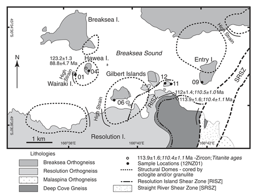 Geologic map of the entrance to Breaksea Sound. The structure is dominated by garnet granulite and eclogite cored gneiss domes, which are surrounded by highly strained amphibolite facies gneisses. Modified from Betka and Klepeis (2013) and Turnbull et al. (2010). U-Pb titanite ages are lower intercepts on Tera-Wasserburg concordia diagrams from Schwartz et al. (2016).