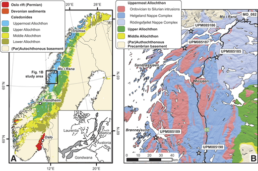 (A) Simplified map of the Scandinavian Caledonides, showing the classic allochthon subdivision of Roberts and Gee (1985). (B) Simplified map of the sampled area in the Uppermost Allochthon. The inset in A shows the extent and outline of the mid-Paleozoic Appalachian-Caledonian orogenic belt.