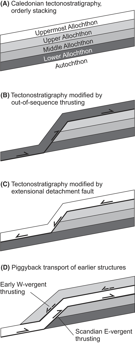 (A) Schematic idealized representation of Caledonian tectonostratigraphy, with upward increasingly exotic allochthons stacked on top of each other. B–D show some likely structural complexities resulting from long-lived convergence and stacking of the allochthons. In the absence of truly diagnostic features by which the different units can be recognized, identifying such complexities requires detailed knowledge of the tectonometamorphic history of the units and the structures separating them. (B) An out-of-sequence thrust emplaces the Lower Allochthon structurally above the Middle, Upper, and Uppermost allochthons. (C) The Uppermost Allochthon is emplaced directly on top of the Lower and Middle Allochthons along an extensional detachment fault. (D) Earlier west-vergent structures, well documented in the Uppermost Allochthon, are transported passively by later east-vergent thrusts related to Scandian continent-continent collision.