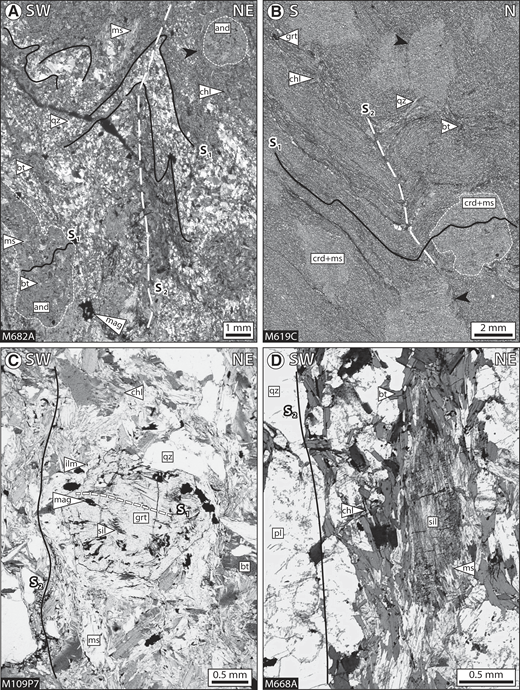 Microphotographs showing metamorphic assemblages and microstructural relations in schists of the metamorphic envelope (A, B) and mantling migmatites (C, D). (A) Andalusite (and) porphyroblasts retain F2-microfolded inclusion trails of biotite (bt), ilmenite (ilm), and muscovite (ms) (chl—chlorite; crd—cordierite; grt—garnet; mag—magnetite; qz—quartz). S2-parallel biotite aggregates wrap around andalusite porphyroblasts (black arrow) (locality 4 in Fig. 4A; N45.23416, E97.99712). (B) The S1 schistosity is defined by oriented biotite, muscovite, ilmenite, and elongated garnets (0.2 mm) that enclose S1 inclusion trails of quartz. Cordierite porphyroblasts overgrow F2-folded S1 schistosity and deflect S2 biotite (black arrows) (locality 3 in Fig. 4A; N45.28925, E98.24065). (C) Straight S1 sillimanite, magnetite, and biotite inclusion trails in garnet porphyroblast (1 mm) that are oblique to the surrounding continuous external migmatitic S2 foliation (locality 2 in Fig. 4A; N98.19719, E45.26771). (D) Sillimanite oriented along the S2 foliation (locality 1 in Fig. 4A; N45.27722, E98.06799).
